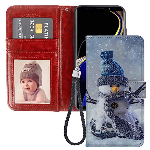 Snowman Samsung Galaxy Note 9 Case for Kickstand PU Leather Card Slot Magnetic Flip Wristlet Phone Cover Samsung Galaxy Note 9 Snowman Wallet Case