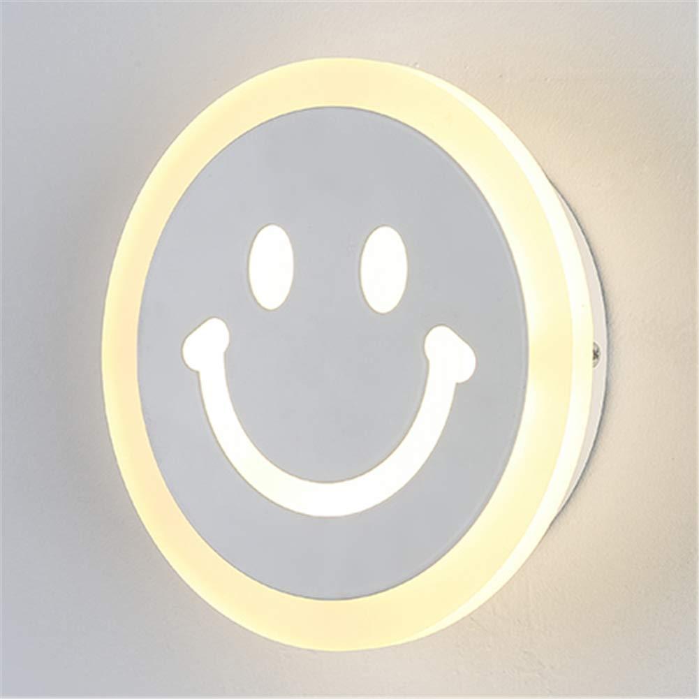 Wandleuchte Innen Moderne einfache LED warmes Licht 12W Art Kreative Lächeln Pattern Design Schmiedeeisen-Acrylwand Wandlampe für Wohnzimmer Schlafzimmer Restaurant Flur Wandleuchten