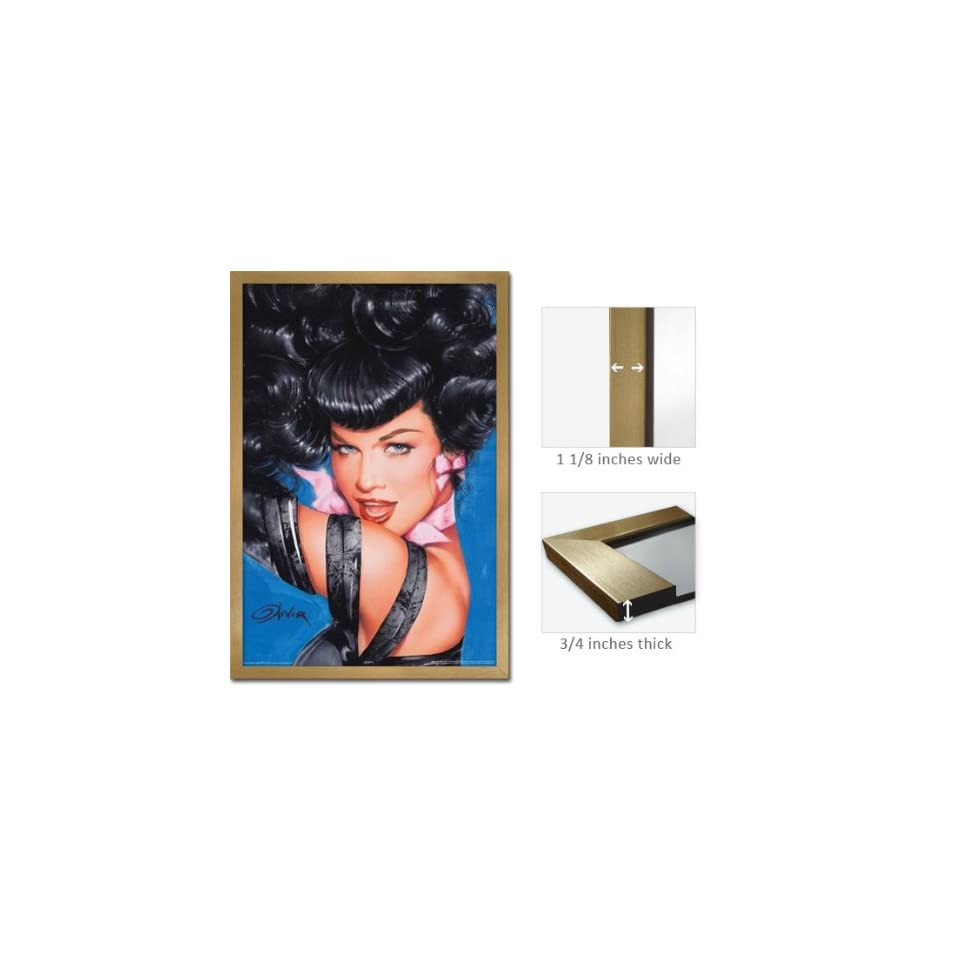 Gold Framed Bettie Page Eyes Poster Olivia Pin Up Fr 24952