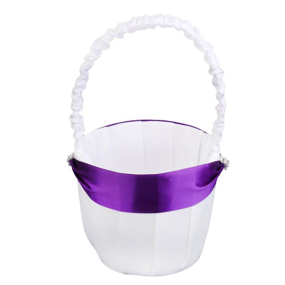 Pixnor Wedding Ceremony Party Flower Girl Basket - White Purple