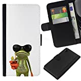 // PHONE CASE GIFT // Fashion Leather Wallet Case Stylish Credit Card & Money Pouch Protective Cover for Sony Xperia Z2 D6502 / Sun Shades Sunglasses Frog White Drink /
