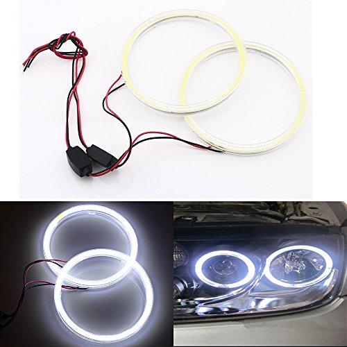 (Qasim 1 Pair 90MM 66SMD COB LED for Angel Eyes Halo Ring Headlight Fog Housing Lamp with Cover White 12V 24V DC)