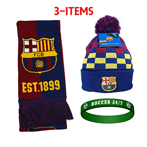 045faf03482 FC Barcelona FCB Barcelona Set Beanie Skull Cap Hat and Scarf Reversible +  Silicone Soccer Quote