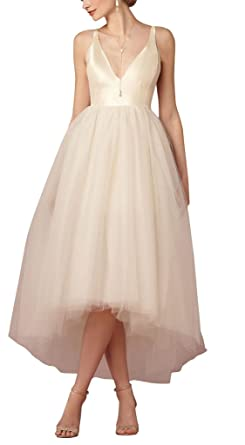4beebf4f49e4 Xicheng Women's Hi-Low Empire V Neck Tulle Wedding Dresses Bridal Gowns  Size 26w US