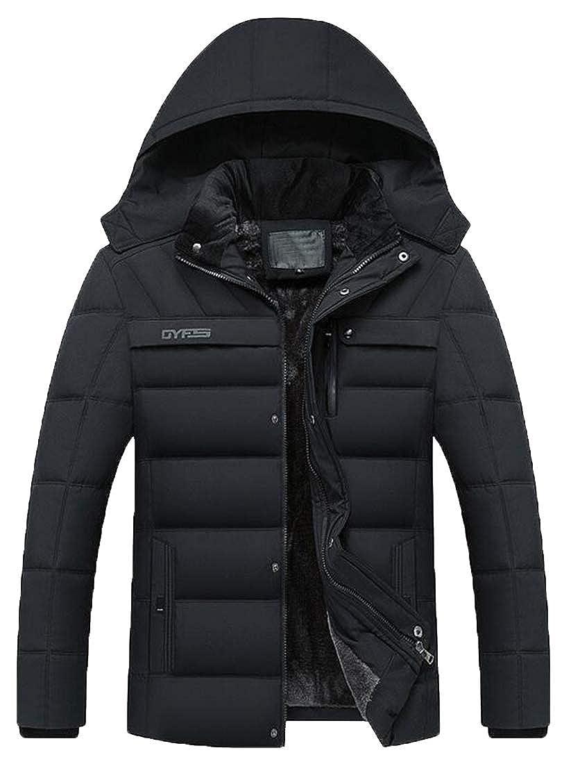 Jofemuho Mens Thicken Warm Parkas Winter Fleece Quilted Jacket Coat Outerwear