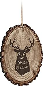 Merry Christmas Reindeer Rustic Bark Look Wood Christmas Ornament