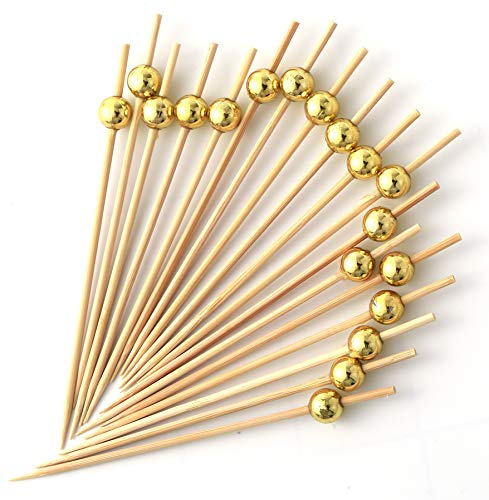Cocktail Picks 100 Counts Handmade Sticks Wooden Toothpicks Cocktail Sticks Party Supplies - Gold Pearl by VC-HOME