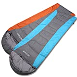 Cheap GEARUP Ultralight 50F Double Sleeping Bags for Spring Summer Camping Hiking with Stuff Sack Teen Sleeping Bag for Boys Girls Blue Left Zip and Orange Right Zip