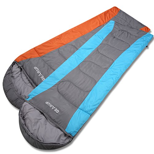 GEARUP Ultralight 50F Sleeping Bag For Spring Summer Camping Hiking With Stuff Sack Teen Sleeping bag For Boys Girls 74 L 29 W Hood 12 L