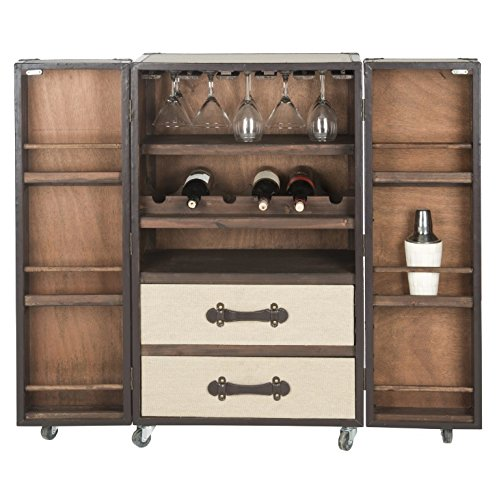 Industrial Liquor Cabinet Storage Buffet with Doors – Mobile Rolling Wine Unit is Best for Bottles of Wine, Liquors, Glassware and Drinking Accessories - Bundle w Wine Bottle Holder