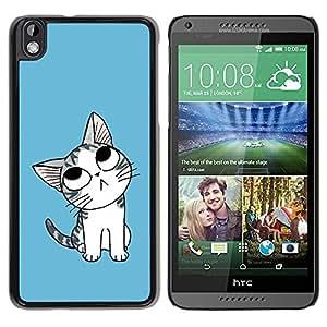 LECELL -- Funda protectora / Cubierta / Piel For HTC DESIRE 816 -- Cute Thinking Cat --
