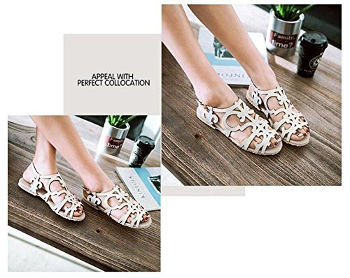 Women College Shoes Hollow Sandals Toe Sandals Can 40 Flat Sweet Style 52 Customized White Ladies Open Flowers Be Size Burning Slingback Large tq8rwq