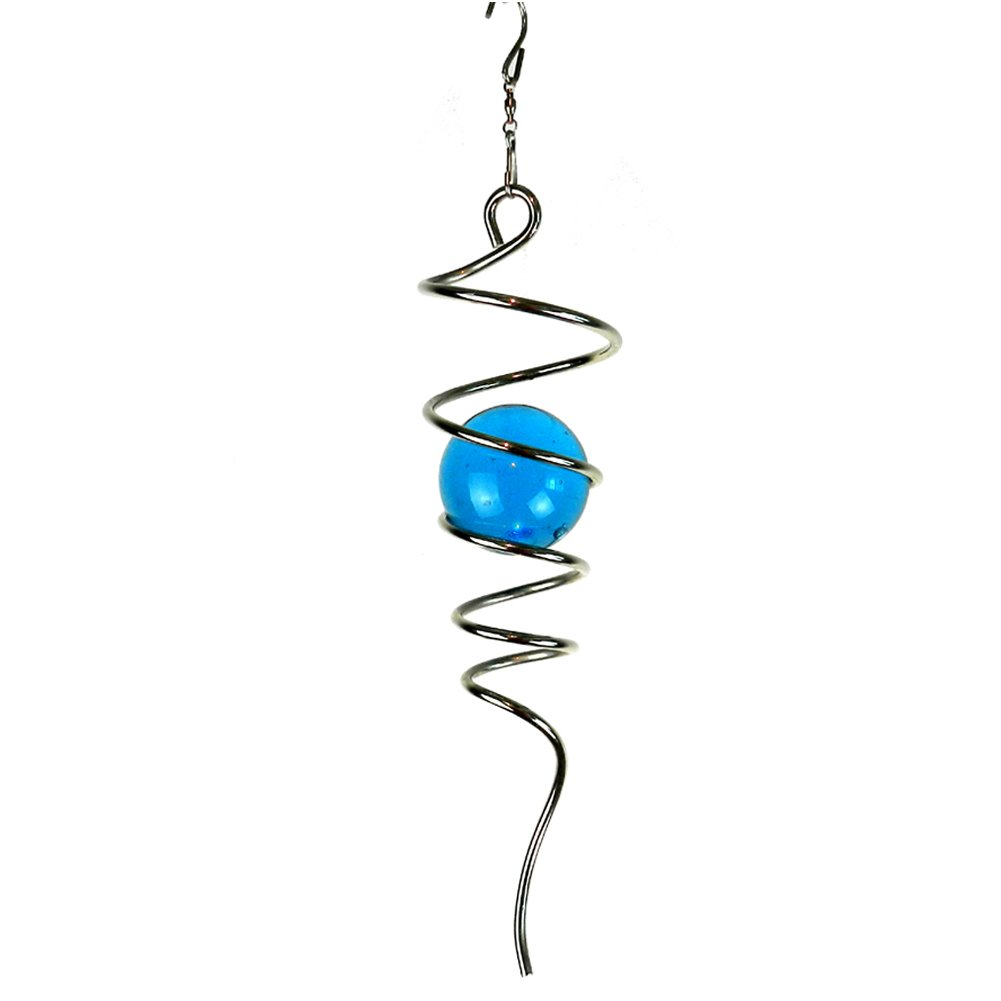 Fonmy Gazing Ball Spiral Tail with Swivel Hook, 11'' inch Tail and 2'' inch Glass Orb. Indoor Outdoor Garden Decoration Crafts Ornaments, Silver Blue -11'' inch
