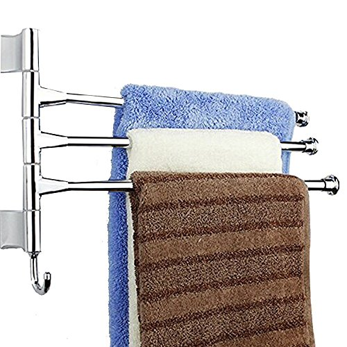 Agile-shop Wall-Mounted Bathroom Kitchen Towel Rack Holder - 3 Swing Arms, Polished Stainless Steel