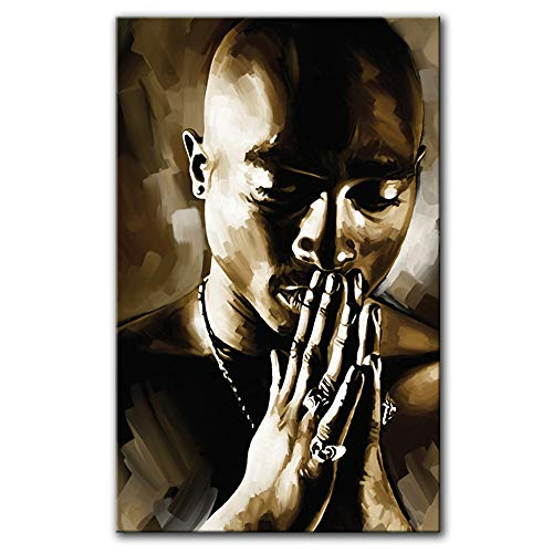 "Tupac Shakur 2pac Rap Hip hop Artist Signed Decor Painting Poster Canvas Art Print #4 (Large 30"" x 18"")"