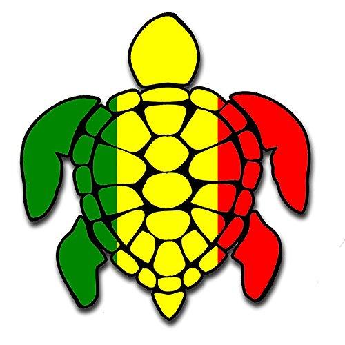 (Sea Turtle Rasta Irie Reggae Design Red Yellow Green Hawaii Turtle Sticker Decal for Car (Made in the U.S.A.))