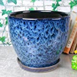 Ceramic Home/Garden Modern Fashion Large Flower Planter Pot with Saucer/Tray,Outside Peacock Pattern