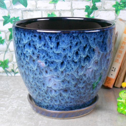 (Ceramic Home/Garden Modern Fashion Large Flower Planter Pot with Saucer/Tray,Outside Peacock)