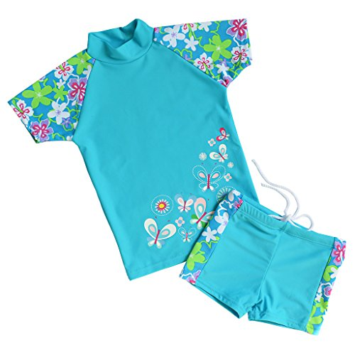 TFJH Girls Swimsuit Blue 5-6 Years UPF 50+ UV