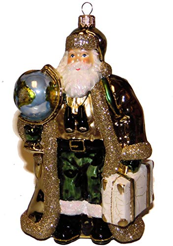 Victorian Santa Clause Christmas Tree Ornament Collectible Hand-Painted Blown Glass 8 inches Tall