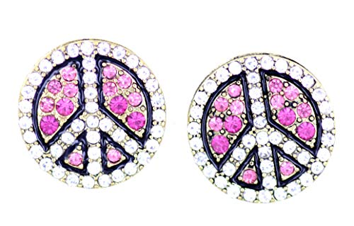 Lizzyoftheflowers - Pretty pink crystal peace sign stud earrings