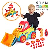 VATOS Take Apart Car Construction Toys for 3 -4 -5 Years Old Boys & Girls, STEM Toys with Sounds, Lights & Drill Tool, Build Your Own Car Kit, Best Gifts for Kids Age 3+, DIY Assembling Bulldozer Toy