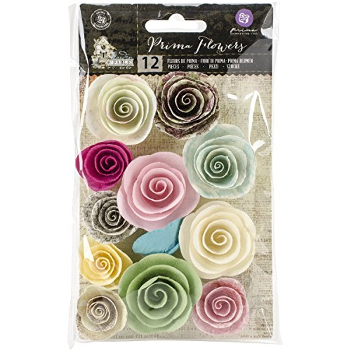 Paper Flower Stickers (Prima Marketing Garden Fable Mulberry Paper Flowers 12/Pkg-Perennial 1.25