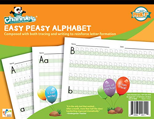 Channie's W302 EASY PEASY ALPHABET HANDWRITING WORKBOOK COMBINE BOTH TRACING & WRITING. LOTS PRACTICES! MOST VISUAL & SIMPLE WORKBOOK ON THE - Writing Letter Kinds