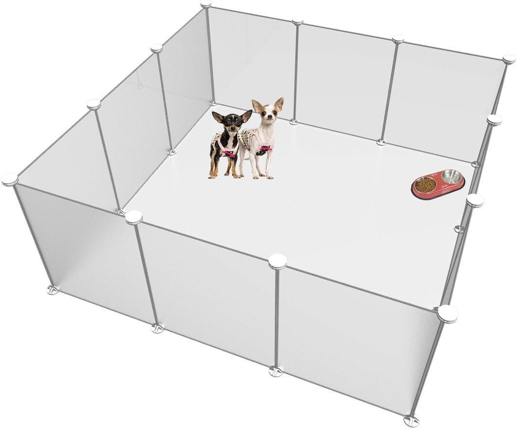 LANGXUN Tamaño y Altura Ajustables Libres del Patio de recreo para Mascotas de Bricolaje - Organizador de Cubos de Almacenamiento de Alambre de plástico - 12 Paneles de Color Blanco Esmerilado