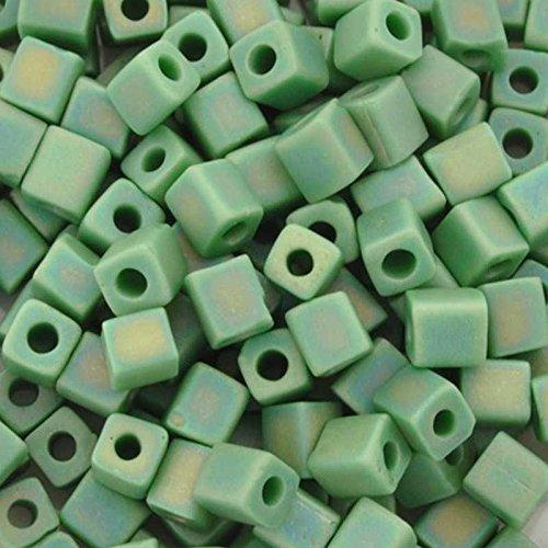 - Seed Beads 4mm Cube 411FR Matte Opaque Green AB Miyuki 15 Grams