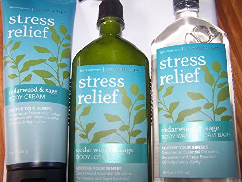 3 Piece Bath & Body Works Aromatherapy Stress Relief Cedarwood & Sage Fragrance Gift Set- Body Wash/Foam Bath, Body Lotion & Body Cream (Cedarwood & Sage)