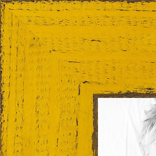 ArtToFrames 8x10 inch Weathered Barnwood in Saturated Yellow Wood Picture Frame, ()