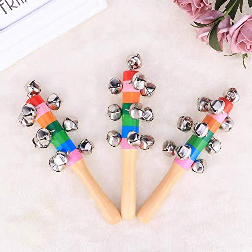 BiuBuy 3PC Colours Baby Bells on Wooden Handle Handle Bells,Rainbow Hand Percussion Shaker Rattle Toys (Style-B)