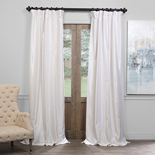 Half Price Drapes PDCH-KBS2BO-84 Blackout Vintage Textured Faux Dupioni Curtain, Off White, 50 X 84