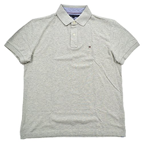 Tommy Hilfiger Mens Custom Fit Mesh Polo Shirt (L, Gray) (Tommy For Men Polo)