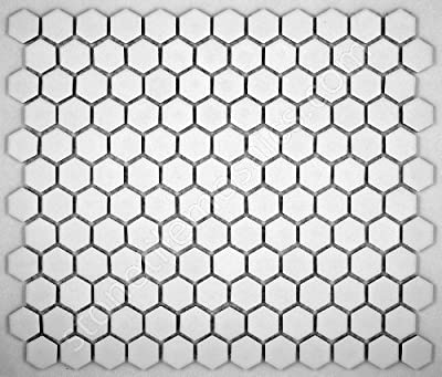 Hexagon White Porcelain Mosaic Tile Matte Look 1x1 Inch by Class Tiles
