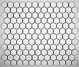Hexagon White Porcelain Mosaic Tile Matte Look 1x1 Inch