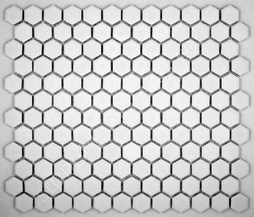 Hexagon white porcelain mosaic tile matte look 1x1 inch buy online in uae products in the for 1 inch hexagon floor tiles
