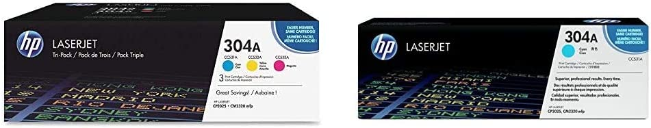 HP 304A | CC531A, CC532A, CC533A | 3 Toner Cartridges | Cyan, Yellow, Magenta & 304A | CC531A | Toner Cartridge | Cyan