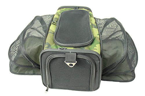 PET LIFE 'Roomeo' Airline Approved Dual Expandable and Folding Collapsible Fashion Travel Pet Dog Carrier Crate, One Size, Camouflage (Camouflage Carrier Dog)