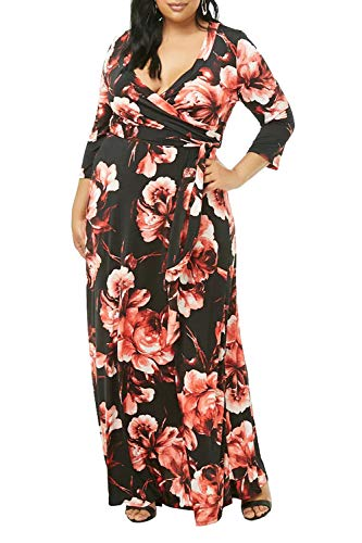 Pink Queen Womens V Neck Faux Wrap Floral Printed Oversize Maxi Dresses XL Red