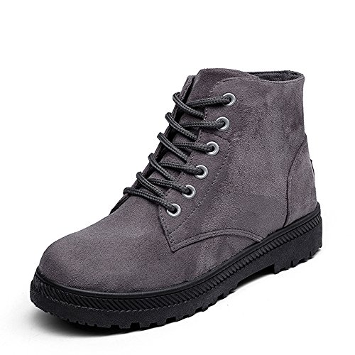 Women's Lace CUSTOME Suede Winter Snow Shoes Boots Ankle Cotton Casual Gray up Velvet Boots qwSdC