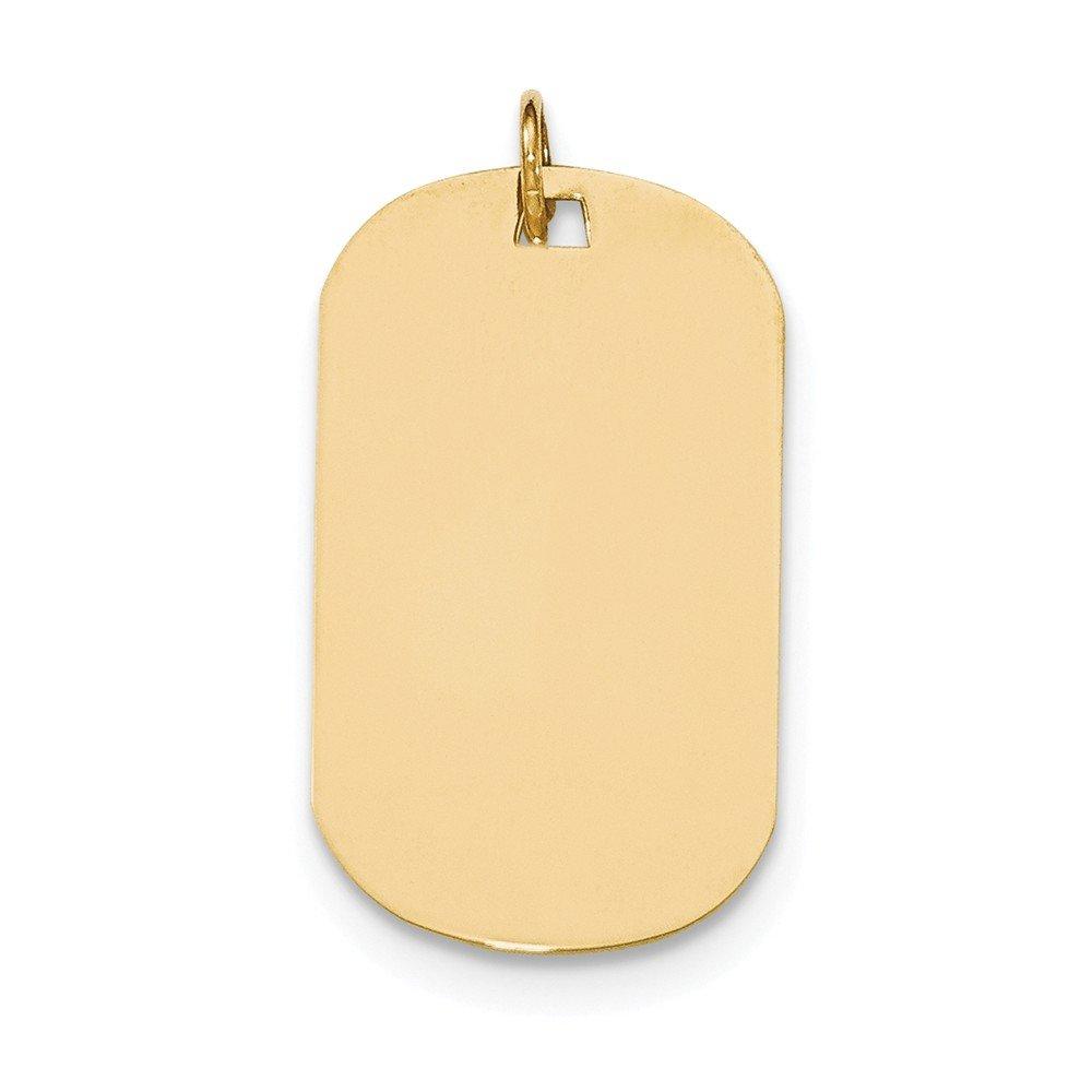 14k Yellow Gold Plain .011 Gauge Engraveable Dog Tag Disc Charm