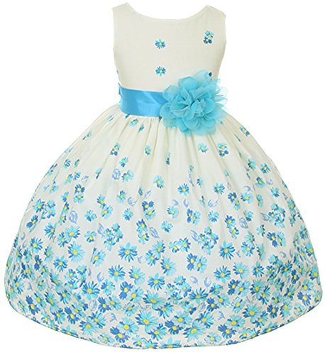 (100% Cotton Floral Spring Easter Flower Girl Dress in Aqua Daisy - 2)