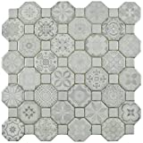 SomerTile FOSTESWT Abacu Ceramic Floor & Wall Tile, 12.25'' x 12.25'', White, White, Grey