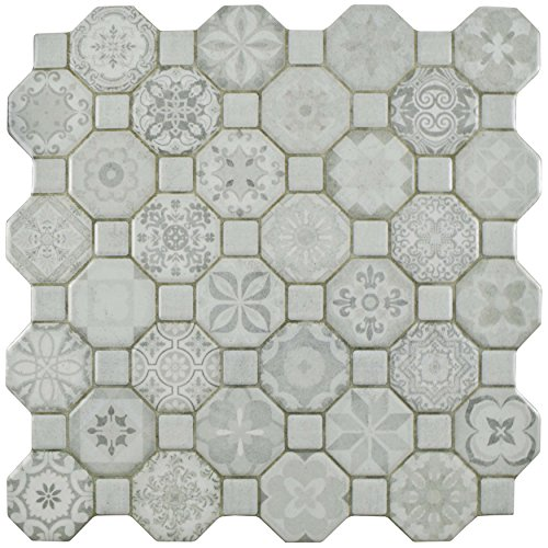 SomerTile FOSTESWT Abacu Ceramic Floor & Wall Tile, 12.25'' x 12.25'', White, White, Grey by SOMERTILE