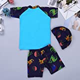 iEFiEL Kids Boys 3PCS Swimsuit Rashguard Top