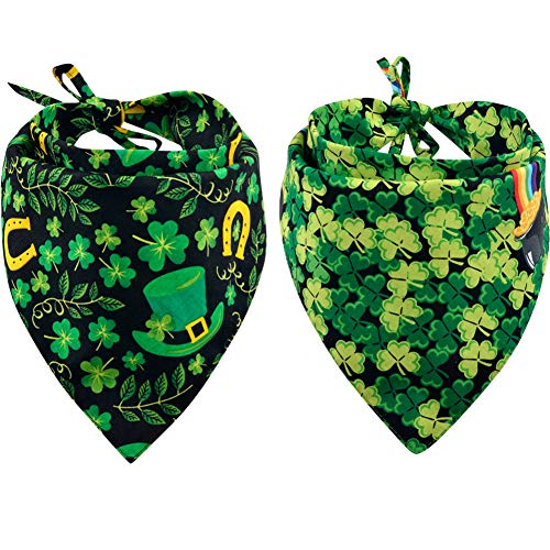 Bandana Dog Leaves - KZHAREEN 2 Pack St. Patrick's Day Dog Bandana Reversible Triangle Bibs Scarf Accessories for Dogs Cats Pets Animals