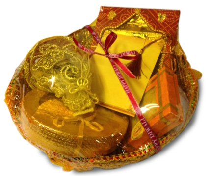 Sukhadia's Indian Gifts- Traditional Basket Filled with Sweets & Snacks, Premium Indian Mithai, Masala Nuts