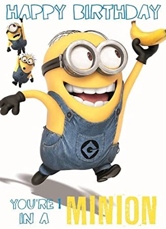 Despicable Me Minion Happy Birthday Card - 1 In a Minion: Amazon ...